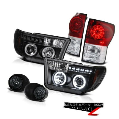 ヘッドライト CCFL Halo Projector Headlight+Led Tail Light+Fog Lamp 07-13 Toyota Tundra TRD V8 CCFLハロープロジェク...