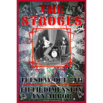 """The Stooges、第5次元でAnn Arbor Rock and Rollポスター196813"""" x 19"""" ready for表示、フラット、袋詰め付属し、Boarded by..."""
