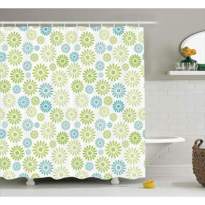(180cm W By 210cm L, Multi 18) - Ambesonne House Decor Collection, Various Colourful Flowers Pattern Cartoon Children Nursery Kindergarten Artwork , Polyester Fabric Bathroom Shower Curtain, 210cm Extra Long, Green Blue