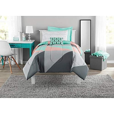 Fun and太字Mainstays Gray and Teal Bed in aバッグモダン掛け布団セット、幾何三角形印刷Tealブルーグレーとピンクコーラル、寮と子どもの部屋にぴったり。...