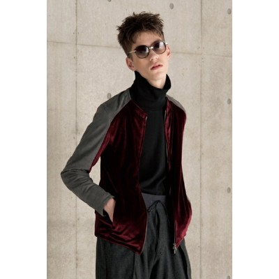 【22%OFFセール|86,400円→67,392円】 OURET オーレット TRIACETATE VELOUR LEATHER SLEEVE SIMGLE RIDERS{-AGA}