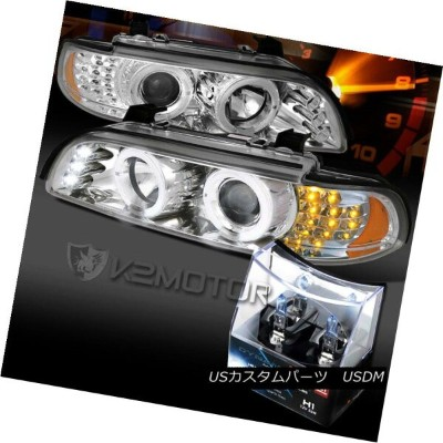 ヘッドライト 01-03 BMW E39 525 530 Chrome LED Signal Projector Headlights+H1 Halogen Bulbs 01-03 BMW E39...