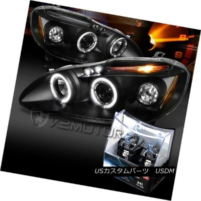 ヘッドライト For 03-08 Toyota Corolla Black LED Halo Projector Headlights+H1 Halogen Bulbs 03-08トヨタカローラブラッ...