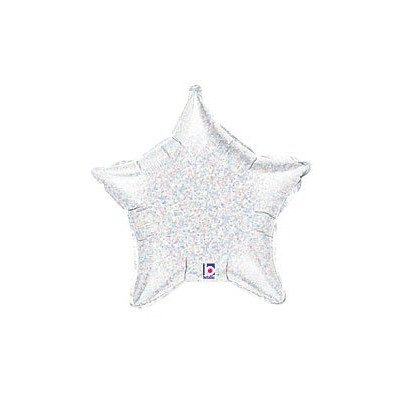 Holographic Silver Star Shaped Shiny 21 Balloon Mylar by Thavornshop
