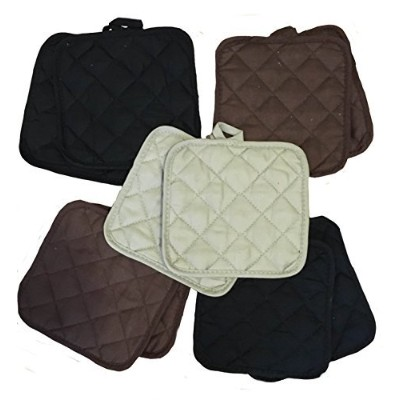 (Naturals) - 5 (FIVE) Sets of The Home Store Cotton Pot Holders, 2-ct. Colour Variety Pack Kitchen...