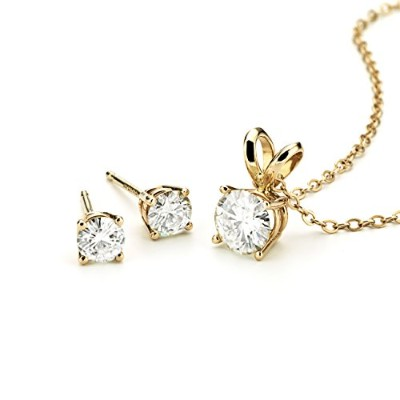 Foreverクラシック14 Kゴールドラウンド5.5 MMモアッサナイトペンダントネックレス、1.06 CT Dew by Charles & Charles