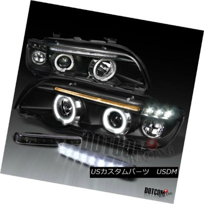 ヘッドライト 01-03 BMW E53 X5 Black Projector Halo Headlight+Front Bumper LED Fog DRL Lights 01-03 BMW...