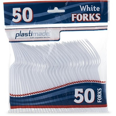 PlastimadeカトラリーHeavy WeightホワイトプラスチックForks 50 Forks in aパック PCF2450W