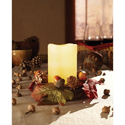 Merchsource、LLC Apothecary & Company LED Wreath with Flameless Candle and Acorns