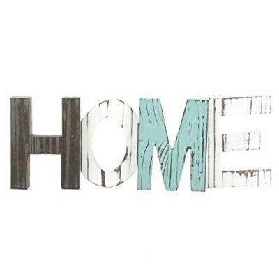 MyGift Rustic Wood HOME Decorative Sign, Standing Cutout Word Decor, Multicolor