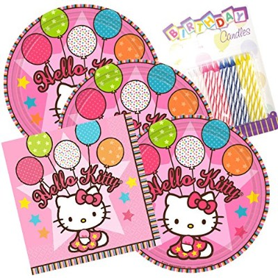 Hello Kitty Balloon Dreams Party Plates and Napkins serves 16with誕生日キャンドル