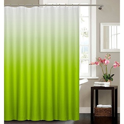 (Green) - 13 Piece Ombre Waffle Fabric Weave Shower Curtain with a Matching 12 Pc Metal Roller Ball...