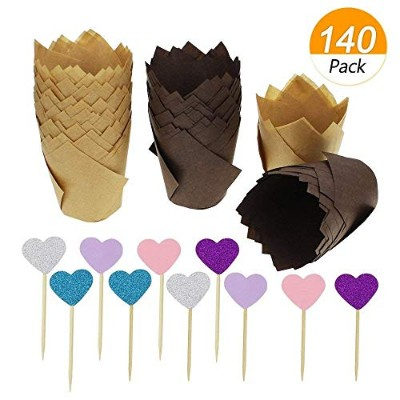 SelfTek 120Pcs Tulip Baking Cups Muffin Baking Cups Tulip Cupcake Liners Paper Muffin Cups with...