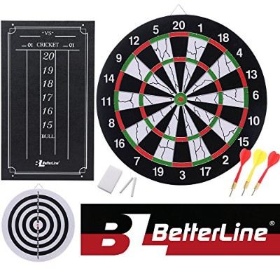 Double-Sided Flocked Dart Board Set - Includes 6 Darts and Cricket Scoreboard Kit - 43 Centimetres ...