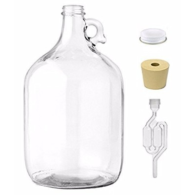 Home Brew Ohio One Gallon Glass Jug With Twin Bubble Airlock, Metal Screw Cap, 6 Drilled Stopper