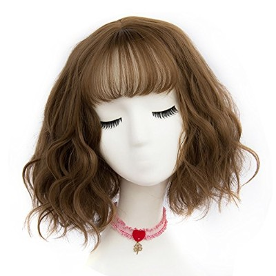 (Light Brown) - TOP-MAX Light Brown Short 30cm Curly With Bangs Heat Resistant Cosplay Wig Fashion...