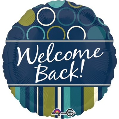 Anagram Back to School Welcome Back Dots & Stripes 46cm Foil Balloon, Blue Green