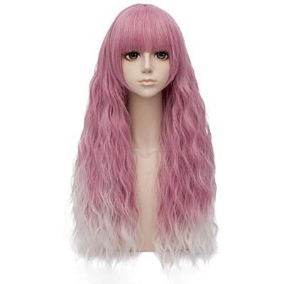 (Pink Mixed White) - Pink Mixed White Ombre Long 70cm Curly With Bangs Heat Resistant Cosplay Wig...