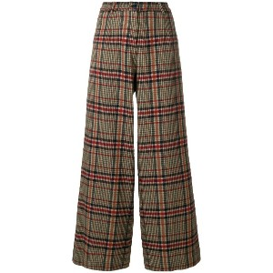 Pinko checked wide leg trousers - グリーン