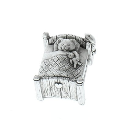 a.e. WilliamsピューターTiny Trinket WeeボックスSleepy Teddy Bear in Bed