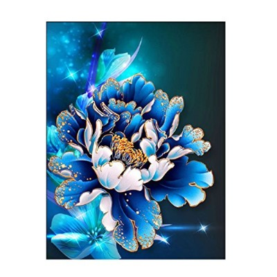 (Size 30 26cm-Blue) - Embroidery,5D Full Drilled Diy Diamond Painting Cross Stitch Square Diamond...