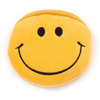 Smiling Face明るいイエローファブリックCoin Purse /バッグチャームfor Kids–10.5CM横幅