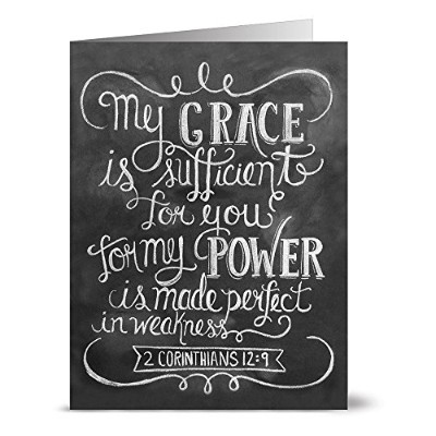 24 Chalkboard Note Cards - My Grace is Sufficient - Blank Cards - Kraft Envelopes Included