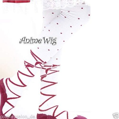 (Red Dots) - Red Dots Bandage Pattern White Basic Socks Sweet Element Lolita Thigh-Highs Over Knee...