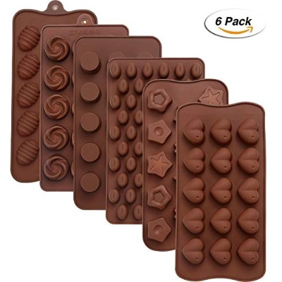 Maxdot 6 Pieces Silicone Chocolate Mould Cake Cookie Mould Candy Baking Mould for Chocolate Cake...