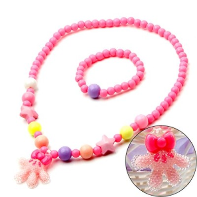 soulmatestoryジュエリーfor Kidsブレスレットネックレスfor KidsピンクFriendship Bracelets for Girl動物象ビーズネックレス、幼児用ジュエリーセット...