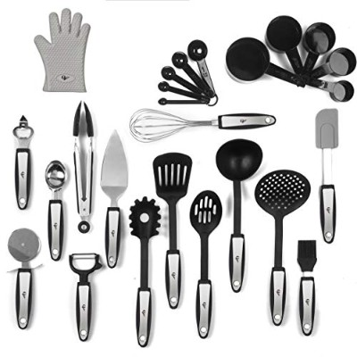 25 Piece Kitchen Tools Set Stainless Steel and Nylon Utensils Tongs, Spatula, Pizza Cutter, Bottle...