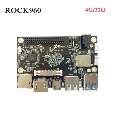 rock960ボード、最小rk3399ソリューション96boards 4 GB lpddr3 @ 1866 MHz HDMI 2.0最大4 K、サポートwith AOSP & Linux