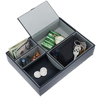 Faux-Leather Valet Tray Felt Compartments Jewelry Wallet Key Coins Storage by Two Elephants