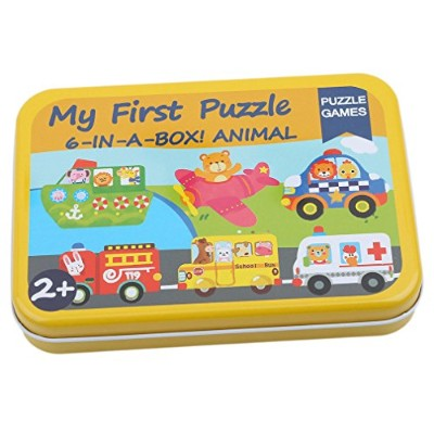 Dolland Cartoon動物6 in 1木製ジグソーパズルin aストレージボックスMontessori早期教育玩具ギフトforキッズ As description 22