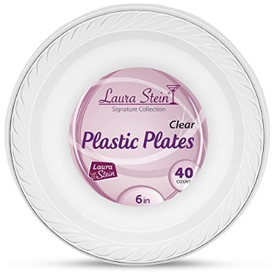 (1) - Laura Stein Clear Plastic 15cm Disposable Plates Pack of 40 Clear Plastic Plates