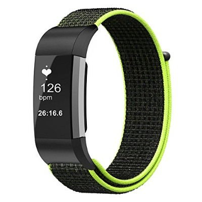 FINTIE for Fitbit Charge 2 バンド ナイロン スポーツループ 調節可能なファスナー閉鎖 フィットビット 交換用ベルト Fitbit Charge 2 HR...