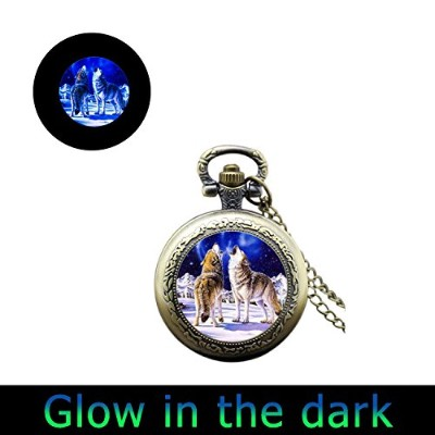 glowlala Glowing Howling Wolf Blue Moon WatchネックレスGlow in the Dark with Simple Victorianヴィンテージスタイルシル...
