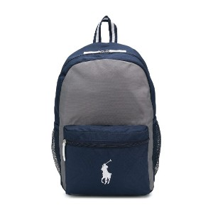 Ralph Lauren Kids logo embroidered cargo backpack - グレー
