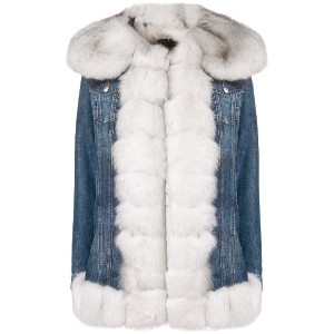 Philipp Plein fur trim denim jacket - ブルー