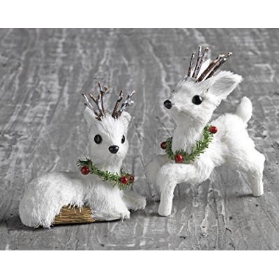 Christmas White Deer Ornaments 2-Pack by RAZ Imports