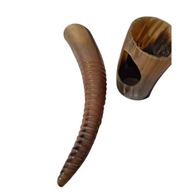 USエクスポータDesignerスパイラルCarved Viking Drinking Real Horn for AleビールワインMead withスタンド