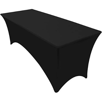 Rectangular Stretch Tablecloth - 2.4m - Black Colour - Spandex Tight Fit Table Cover - by Utopia...