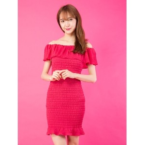 【SALE 55%OFF】CECIL McBEE シャーリングワンピース(ピンク)【返品不可商品】