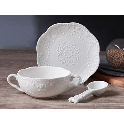 (White) - NDHT Elegant Cute Breakfast Cup Dessert Bowls Soup Mug With Saucer and spoon,300ml,white