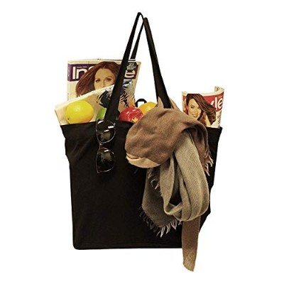 Earthwise Reusable Grocery Bagショッピングトート100%天然コットンキャンバスブラック(セットof 3)
