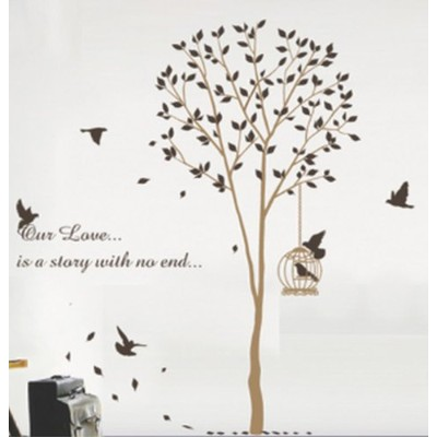 WallStickersUSA Baby Nursery Wall Sticker, Brown Tree with a Bird Cage by WallStickersUSA