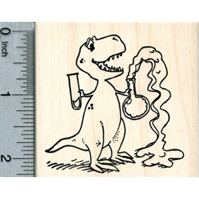 Chemistry T-Rex Rubber Stamp, Dinosaur with Flasks, Science Series