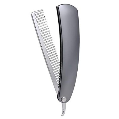 Foldable Male Beard hair Combs Stainless Steel Brush Mini Pocket Men's Shaving Comb Portable...