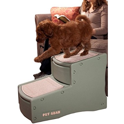 Pet Gear Easy Step II Pet Stairs, 2-step/for cats and dogs up to 150-pounds, Sage by Pet Gear