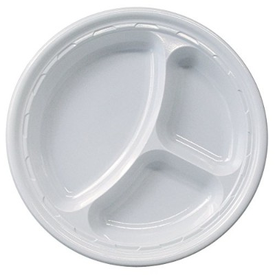 (50) - Dart 10CPWF, 26cm Famous Service White Compartmented Impact Plastic Plate, Take Out Catering...